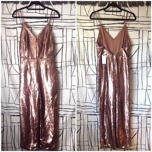 NWT Love Riche Rose Gold Sequin Low Back Jumpsuit